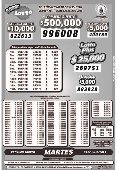 Lotto 20.07 19