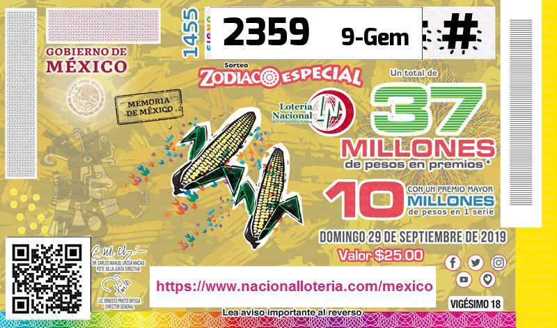 Sorteo Zodiaco Especial 1455 Del Domingo 29 De Septiembre De